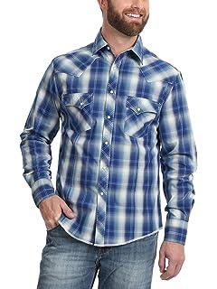 11d5edce Wrangler Men's Rock 47 Blue Plaid Long Sleeve Shirt Grey Small at ...