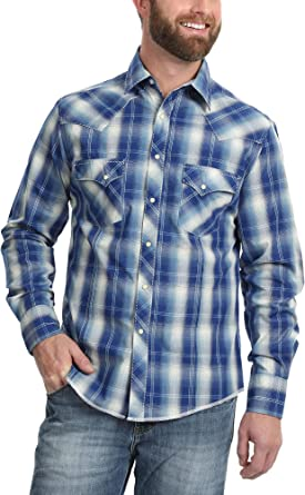 Wrangler Hombre 0928R7 Cuello Amplio Manga Larga Camisa con Botones - Multi - Large: Amazon.es: Ropa y accesorios