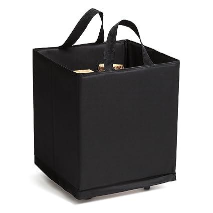 Bolsa para leña de chimenea negra en poliéster con ruedas 100 kg