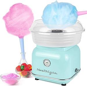 Nostalgia CLCM8AQ Classic Retro Hard and Sugar Free Countertop Cotton Candy Maker, Includes 2 Reusable Cones And Scoop – Aqua