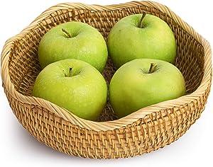 Medium Wicker Sliced Bread Baskets For Fruit Hair Ties Woven Bowl Storage Organizing Kitchen Countertop Bathroom Furniture Natural Rattan Round Basket Serving Bowls Chips (M: 9.1