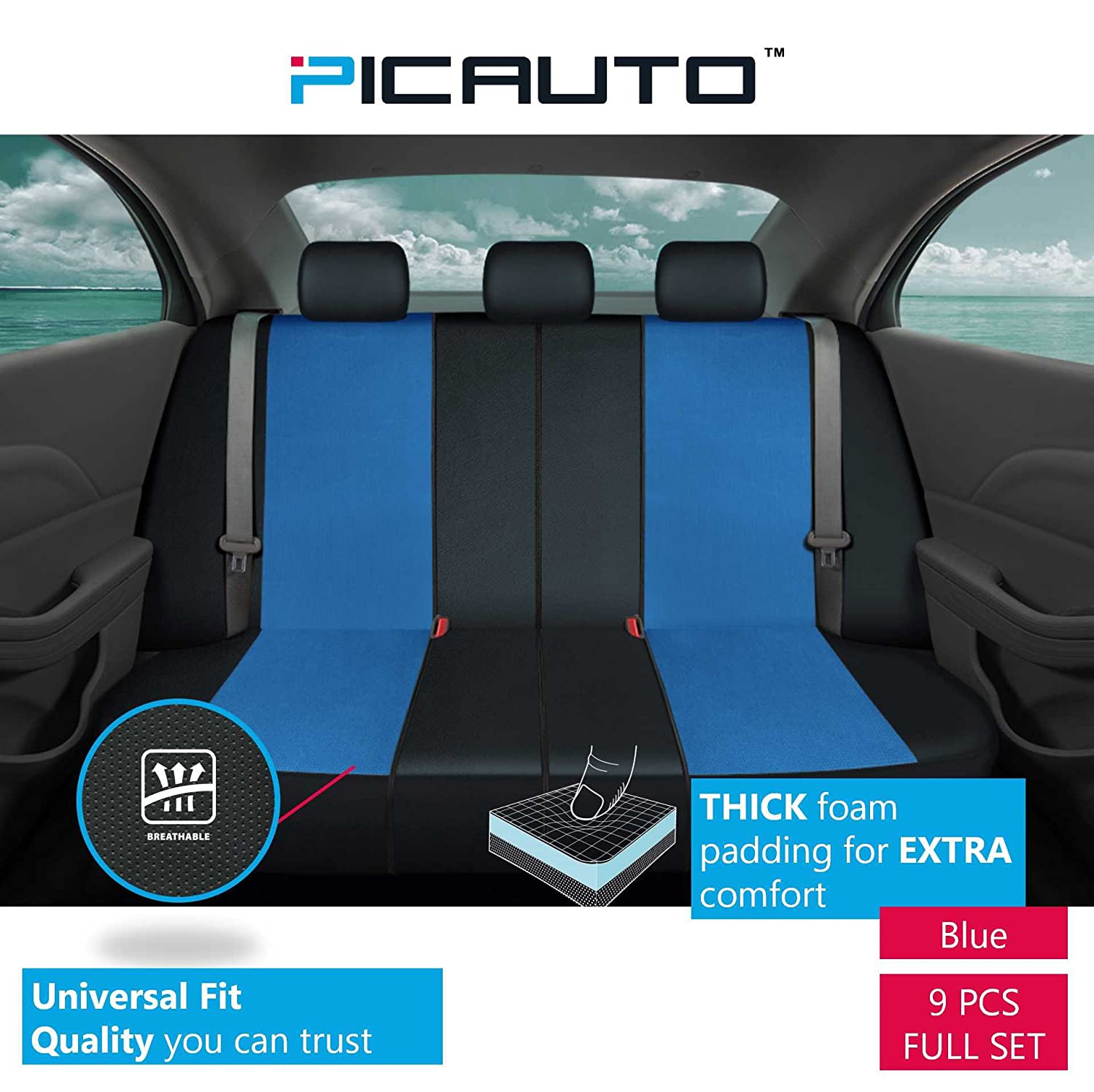 Blue PIC AUTO Universal Fit Full Set Mesh and Leather Car Seat Cover