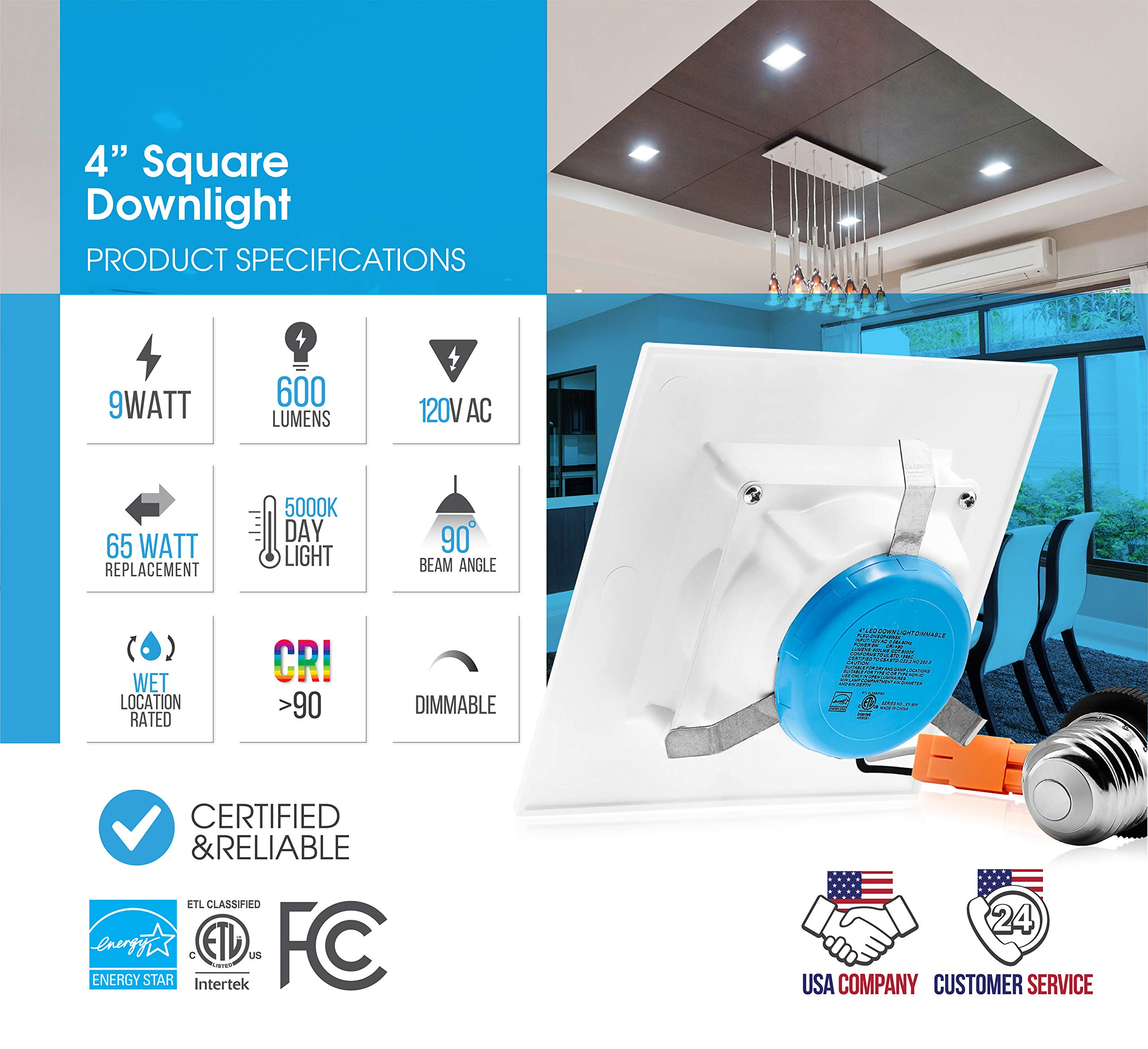 Parmida (12 Pack) 4 inch Dimmable LED Square Retrofit Recessed Downlight, 9W (65W Replacement), 600lm, 5000K (Day Light), Energy Star & ETL, LED Ceiling Can Light, LED Trim by Parmida LED Technologies (Image #3)