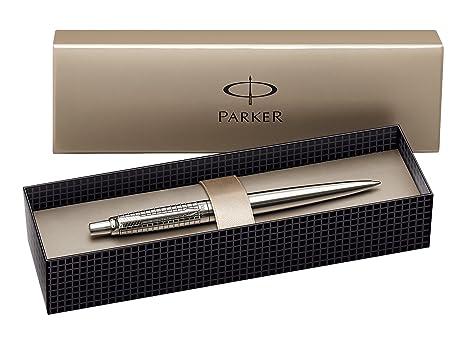 Parker S0908840 Premium Jotter-Kugelschreiber (gemeißelter Classic-edelstahl mit Chromeinfassung, Geschenkbox) schreibfarbe b
