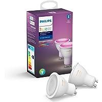 Philips Hue Spot 2-Pack - GU10 - Duurzame LED Verlichting - Wit en Gekleurd Licht - Dimbaar - Verbind met Bluetooth of…