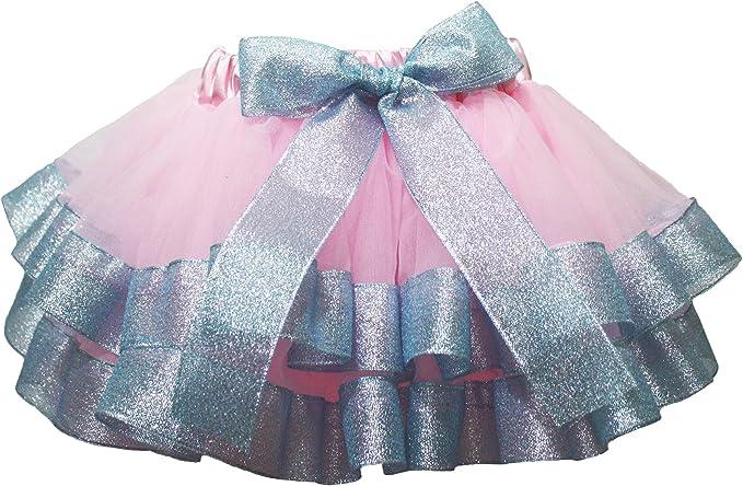Vestido rosa 4 capas Azul Claro Plata cinta pétalos Falda Niña ...