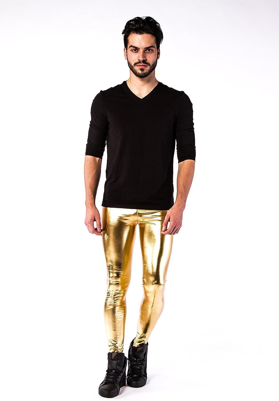 Kapow M/änner Leggings Metallic Holographic Wet Look Glitzern Glitter Yoga Tights Festival Meggings Lounge Pants