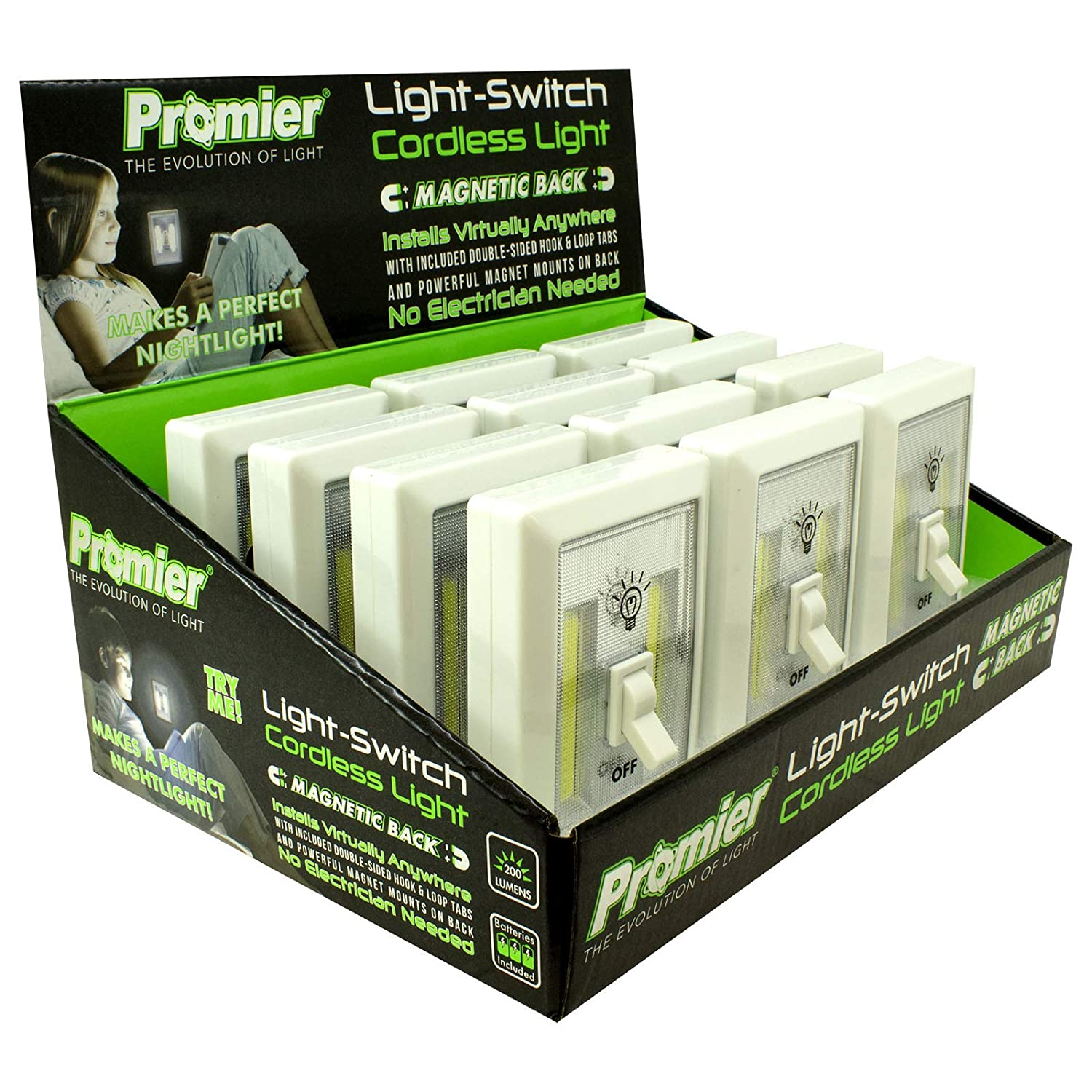 Promier Light Switch - Battery Operated, Cordless, Wireless Light - Super Bright COB LED Technology for Baby Nursery, Dark Hallways, Bedrooms, Closets, RV