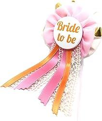 AnneSvea Orden - Braut apricot gold weiß rosa Hochzeit JGA Junggesellinnenabschied Bride to be Hochzeit Anstecker Button Hen Night Party Deko
