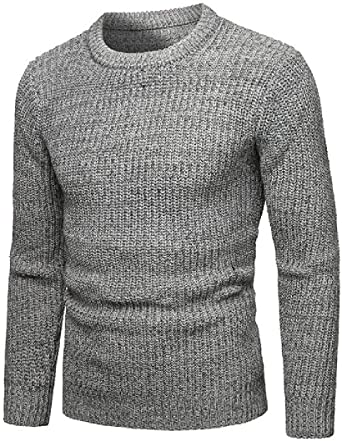 CRYYU Men Knitted Pullover Turtleneck Sweater Blouse Top