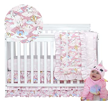 Amazon Com Brandream Unicorn Crib Bedding Sets For Girls Pink