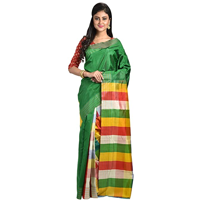 c38a4a90d97abe Amazon.com: Ruprekha Fashion Exclusive Moss Green Colour Pure Silk Patli  Pallu Bengal Handloom Saree With Blouse Piece: Clothing
