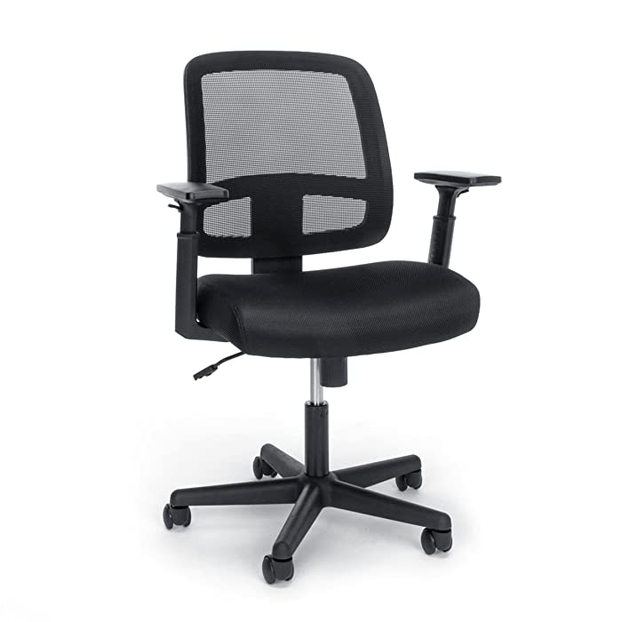 Essentials Mesh Task Chair - Ergonomic Computer/Office Chair with Adjustable Arms, Black (E3035-BLK)