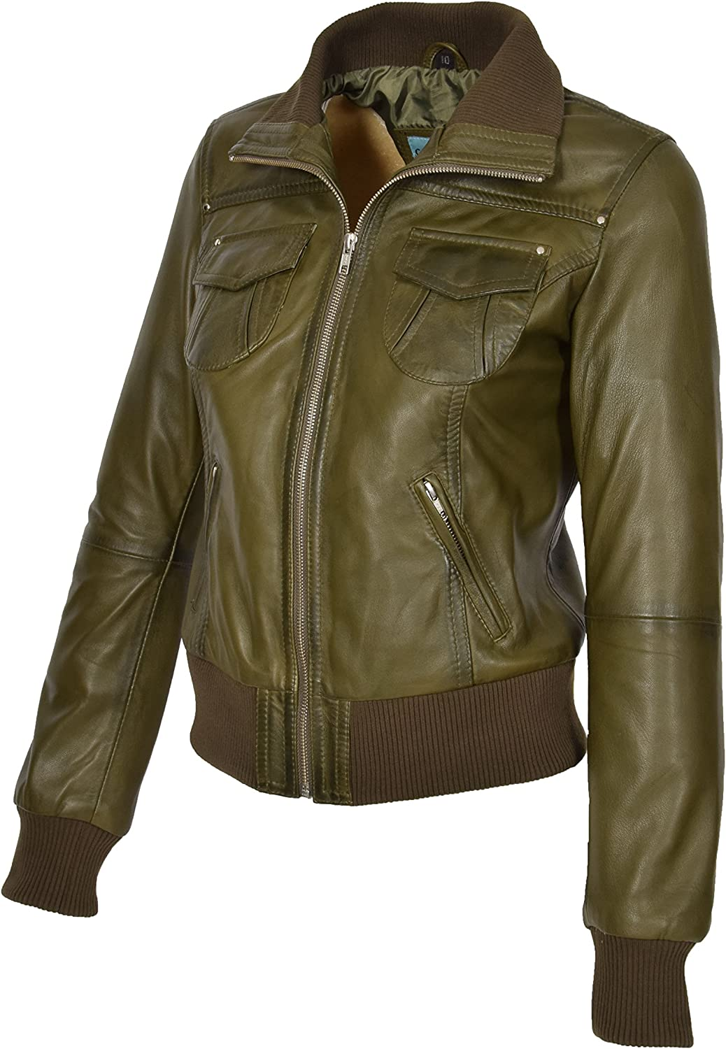 A1 FASHION GOODS Womens Olive Leather Bomber Jacket Trendy Slim Fit Zip Up Blouson Coat Cameron