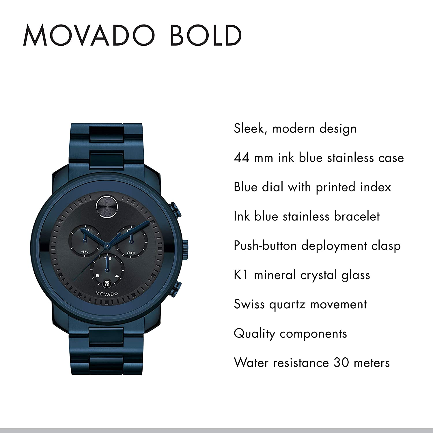 dbcfe7097 Amazon.com: Movado Men's Bold Men's Metals Chronograph PVD Watch with a  Printed Index Dial, Blue (Model 3600279): Watches