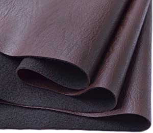 Wento Thick 2 Yard Faux Leather Fabric Soft Skin Grain PU Leather Fabric for Furniture Cover Reupholster Sofa Chairs Cushiones Vinyl Upholstery Fabric (2yards,Dark Brown)