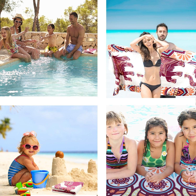 ba/ño de nataci/ón manta grande de gran tama/ño impresa en dos lados para piscina de viaje Toalla de playa de arena fina de secado r/ápido r/ápido yoga mujeres hombres s/úper absorbente camping