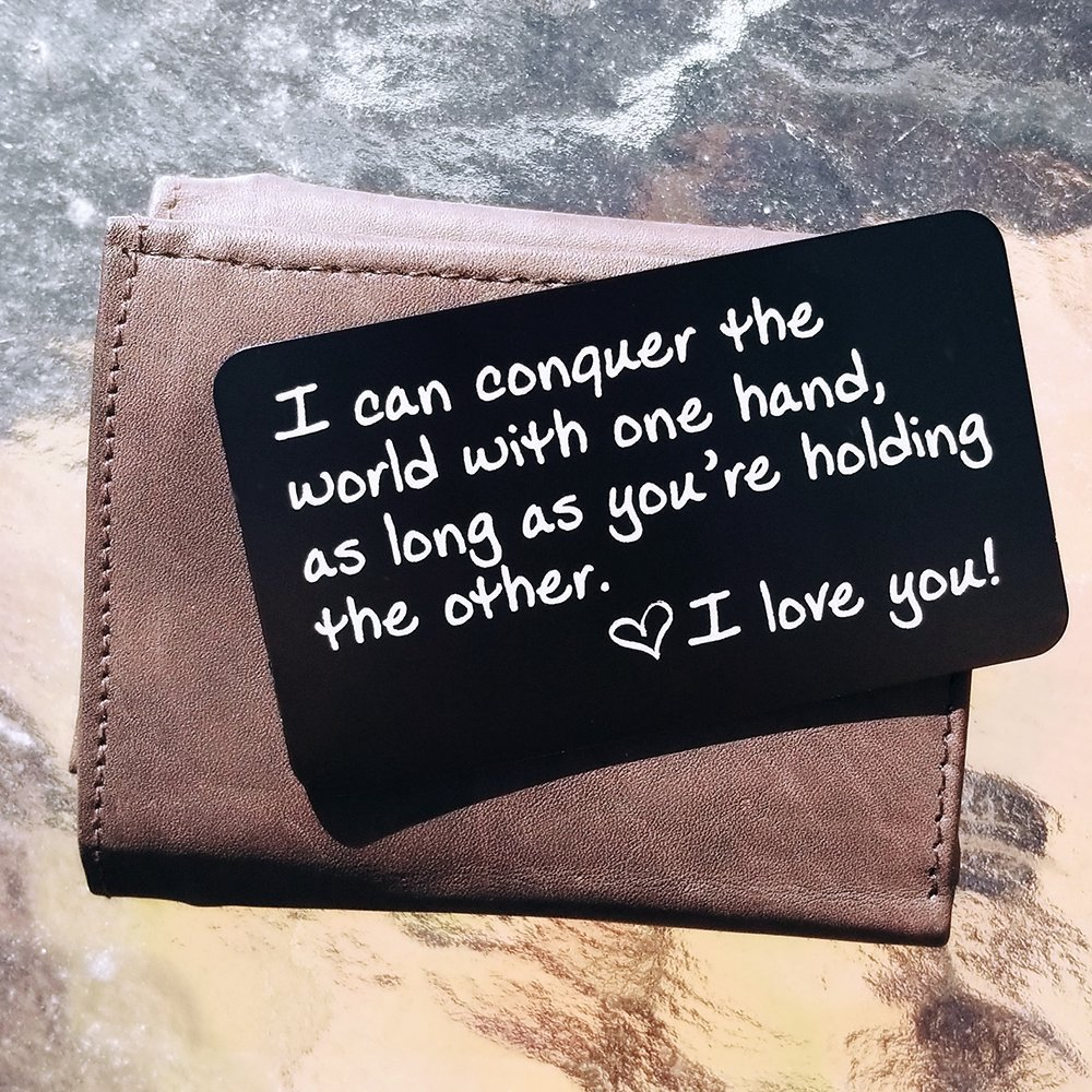 Unique Engraved Aluminum Wallet Love Note Insert, Metal Wallet Card Insert, Mini Love Note - Deployment Gift for Him, Perfect for Your Anniversary, Engagement, Wedding Vows, Boyfriend, Husband