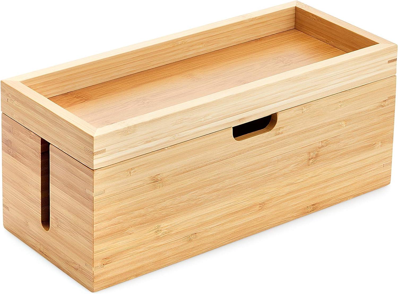 KD Essentials – Caja de bambú con Tapa (Adecuada para Guardar Cargadores, regletas y Cables, Caja de Cables para gestión de Cables, Fabricada en Madera)