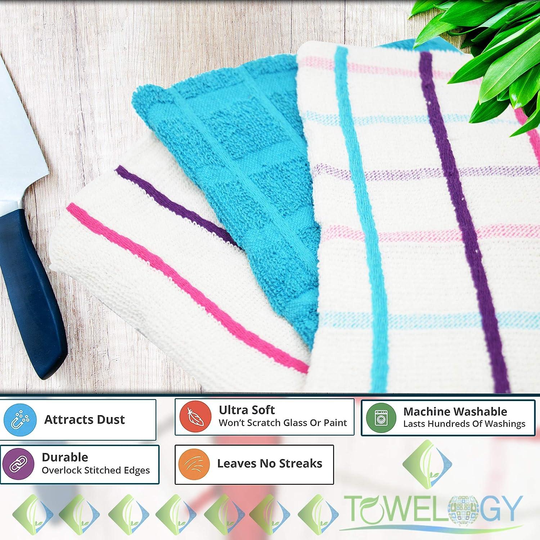 ad Asciugatura Rapida 100/% Cotone Confezione da 6 Set di 6 Strofinacci da Cucina Super Morbidi e Spessi 100/% Cotone 60 x 45 cm Teal Towelogy/®