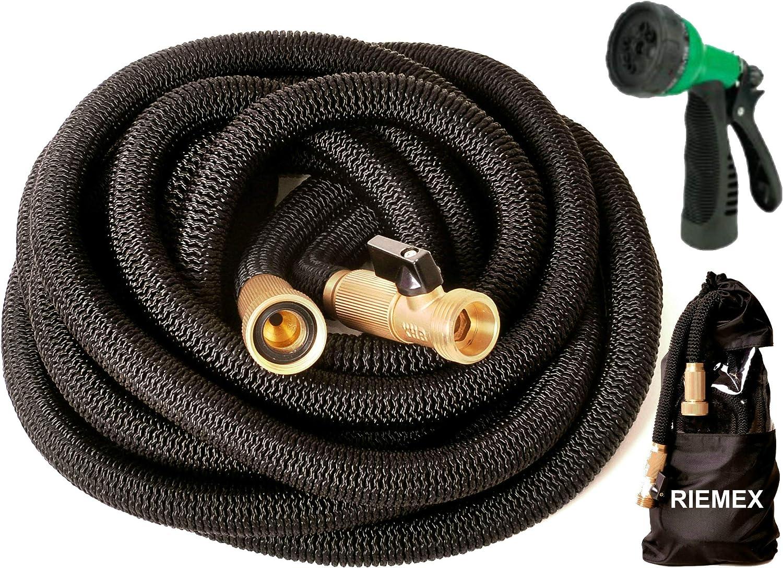 Riemex Expandable Garden Hose Black 75 FT [New 2021] Heavy Duty Water Hose - TRIPLE LATEX - Expanding Solid Brass Metal Fittings Connectors, Flexible Strongest 75FT Black P802Gr