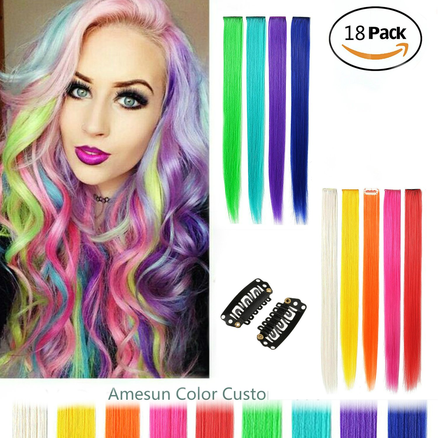Amesun 18pcs 22inch Straight Colored Clip In On Synthetic Hair Extensions for Girls Party Multiple color (MUITIPLE)
