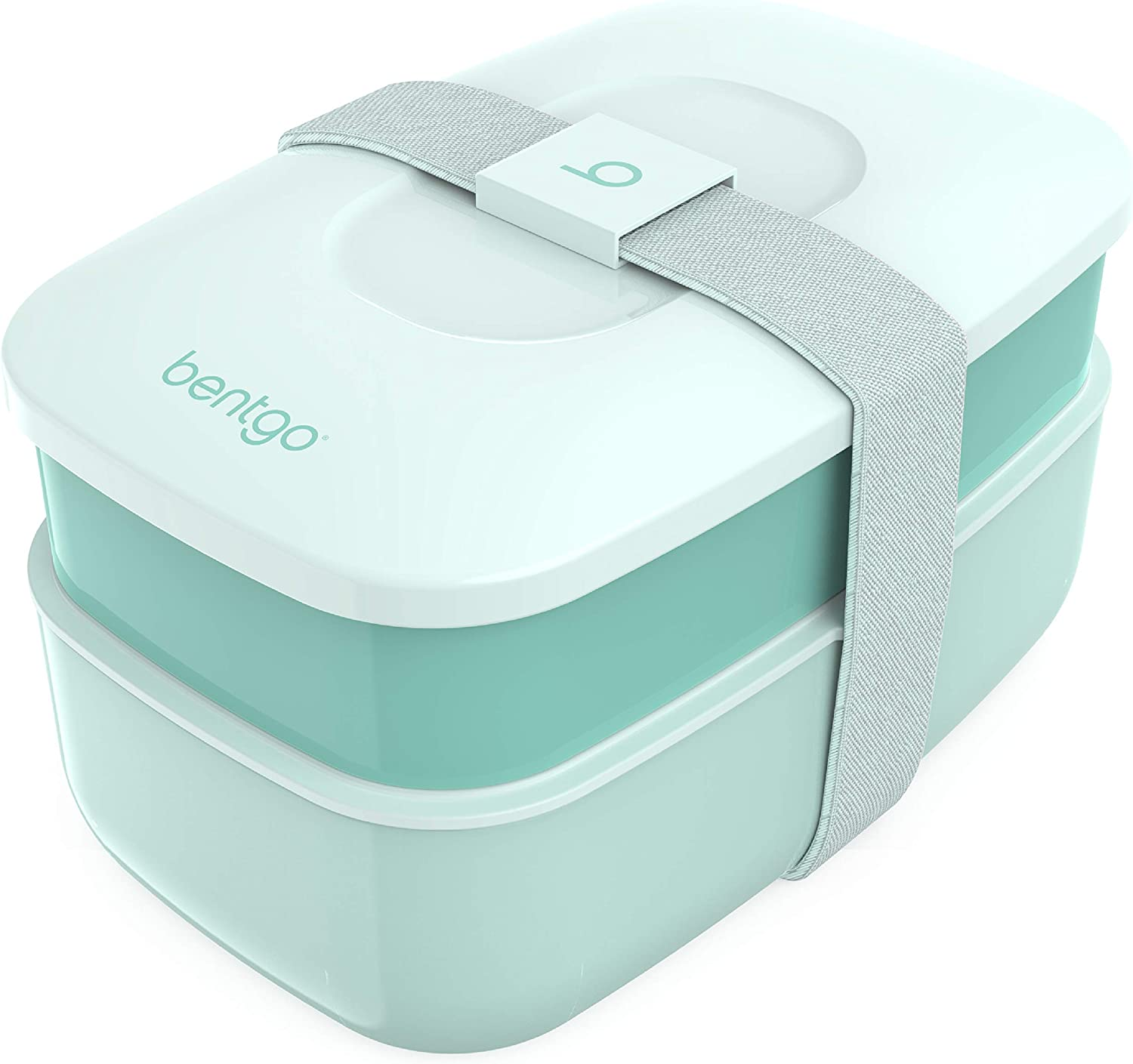 Bentgo Classic - All-in-One Stackable Bento Lunch Box Container - Modern Bento-Style Design Includes 2 Stackable Containers, Built-in Plastic Utensil Set, and Nylon Sealing Strap (Coastal Aqua)