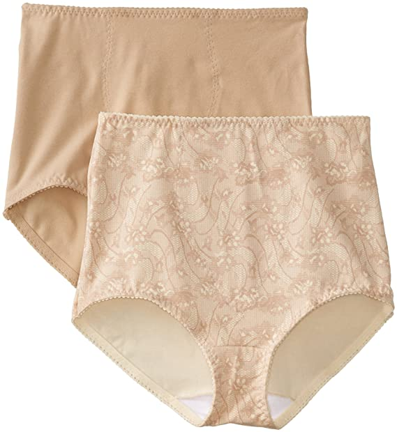 aeabb542ba31 Bali Women's Smoothers Shapewear 2 Pack Cotton Brief with Light Control,  Lace Flowers, Medium