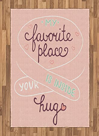 Amazon.com: Romantic Area Rug by Ambesonne, Your Hug is My Favorite ...