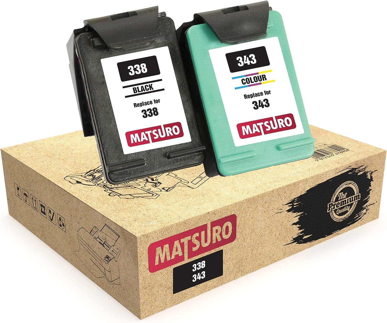 Matsuro Original | Compatible Remanufactured Cartuchos de Tinta Reemplazo para HP 338 343 (1 Set): Amazon.es: Electrónica