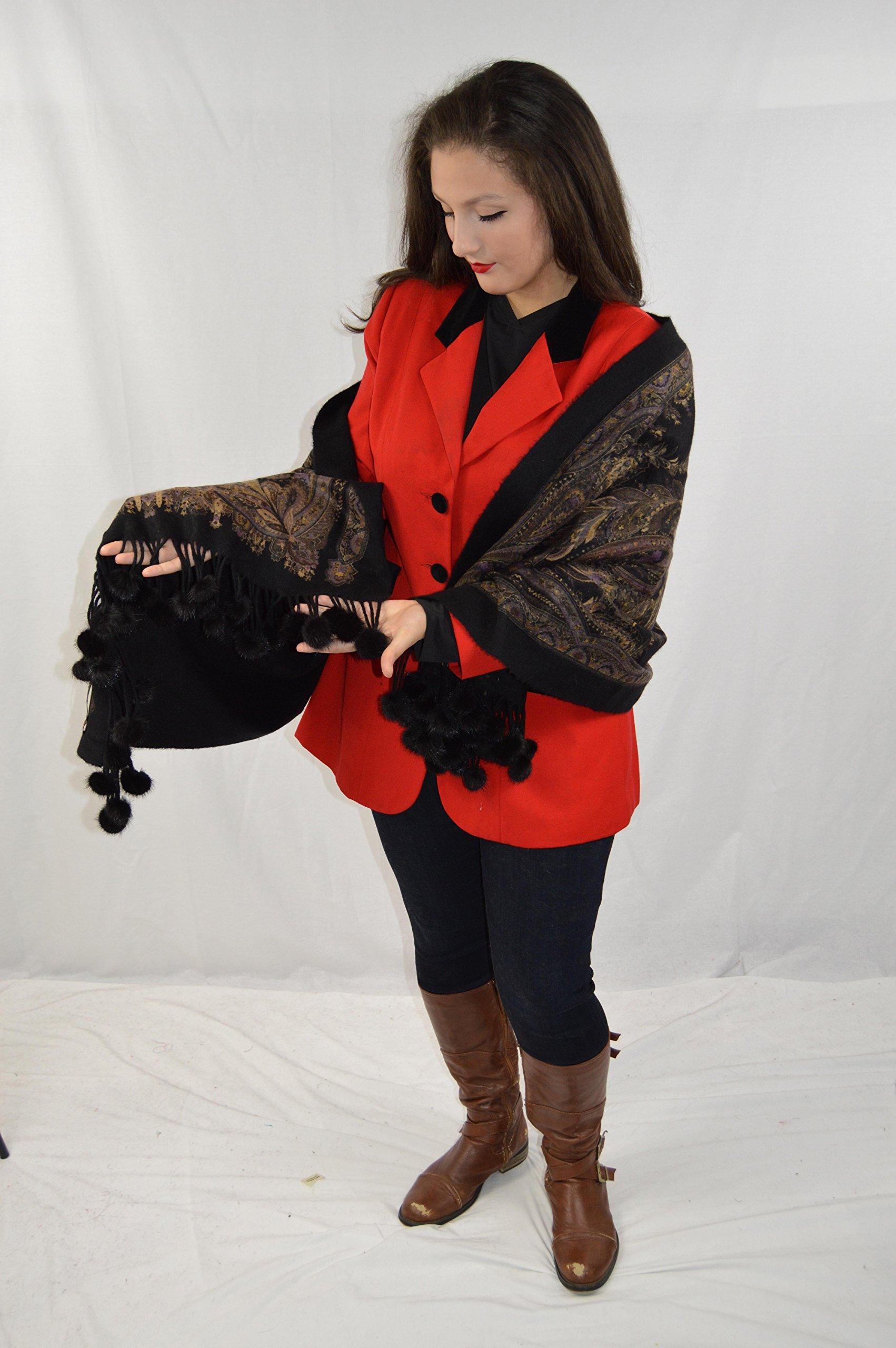 Cashmere Pashmina Group-Cashmere Shawl Scarf Wrap Stole (Solid/ Reversible Print w/ Genuine Fur) - Mink Black by Cashmere Pashmina Group (Image #6)