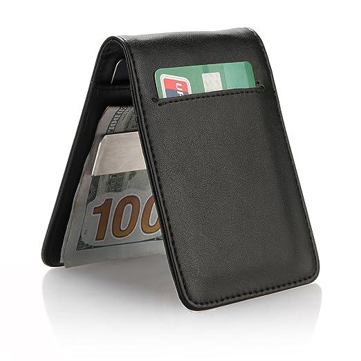 YOOMALL Slim Money Clip Wallets for Men Front Pocket Wallet Card Holder  (black) 394ec5c5f31d