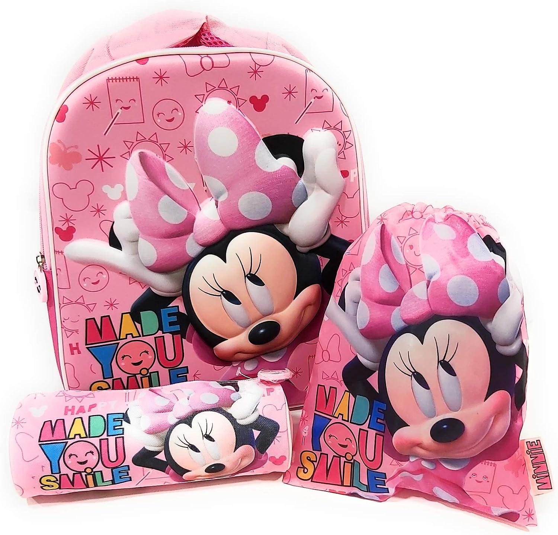 Mochila Minnie Mouse 3D Infantil para niñas (32 cms) + Estuche Minnie Mouse Portatodo + Bolsa Minnie Mouse para Merienda: Amazon.es: Equipaje