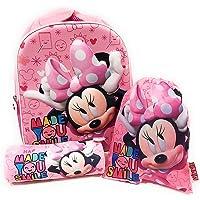 Mochila Minnie Mouse 3D Infantil para niñas (32 cms) + Estuche Minnie Mouse Portatodo + Bolsa Minnie Mouse para Merienda