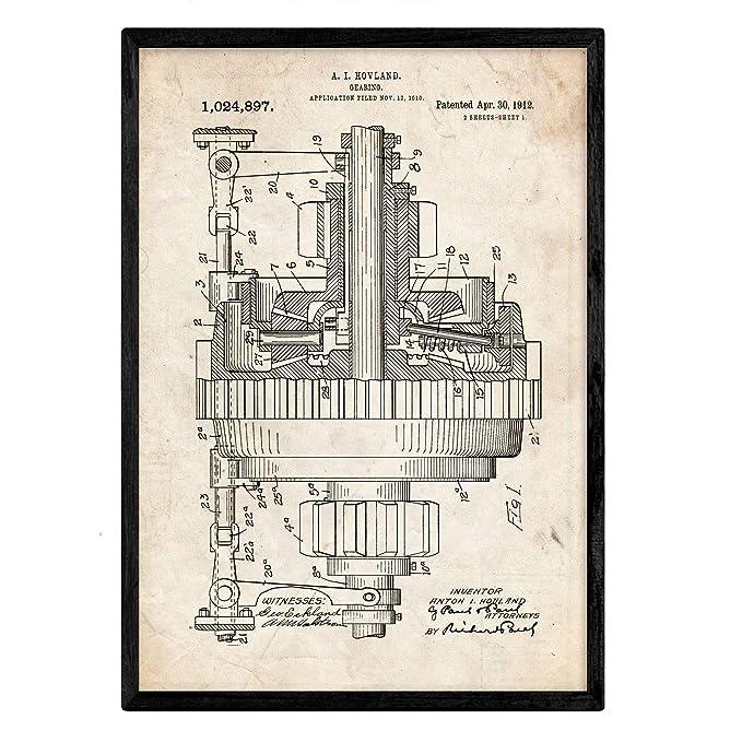 Nacnic Poster con patente de Engranajes. Lámina con diseño de ...