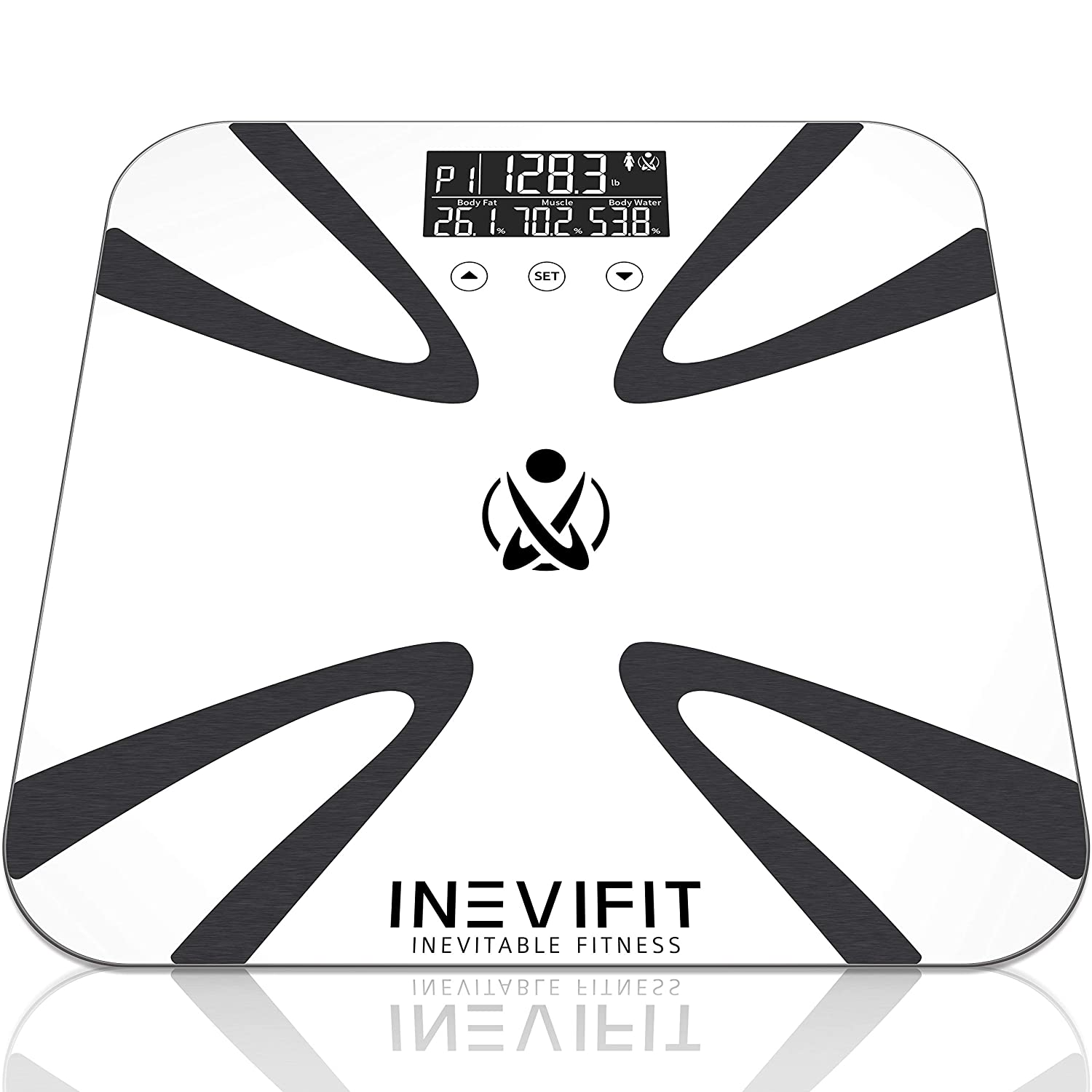 INEVIFIT Body Fat Scale, Highly Accurate Digital Bathroom Body Composition Analyzer, Measures Weight, Body Fat, Water, Muscle, BMI, Visceral Levels Bone Mass for 10 Users. 5-Year Warranty