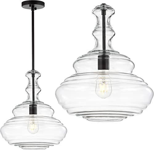 JONATHAN Y JYL6402B Bettina 13.37 Glass Metal LED Pendant, Traditional for Kitchen, Living Room, Oil Rubbed Bronze