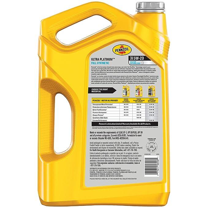 Pennzoil Near Me >> Pennzoil Ultra Platinum Full Synthetic 5w 20 Motor Oil 5 Quart Single Pack