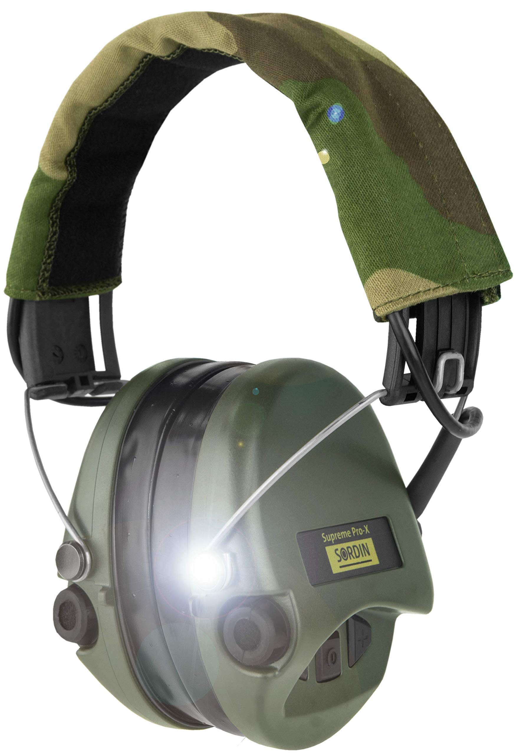 Sordin Supreme PRO X - Noise Reduction Adjustable Ear Muffs with LED Light and Gel Seals - Camo Headband and Green Cups by Sordin