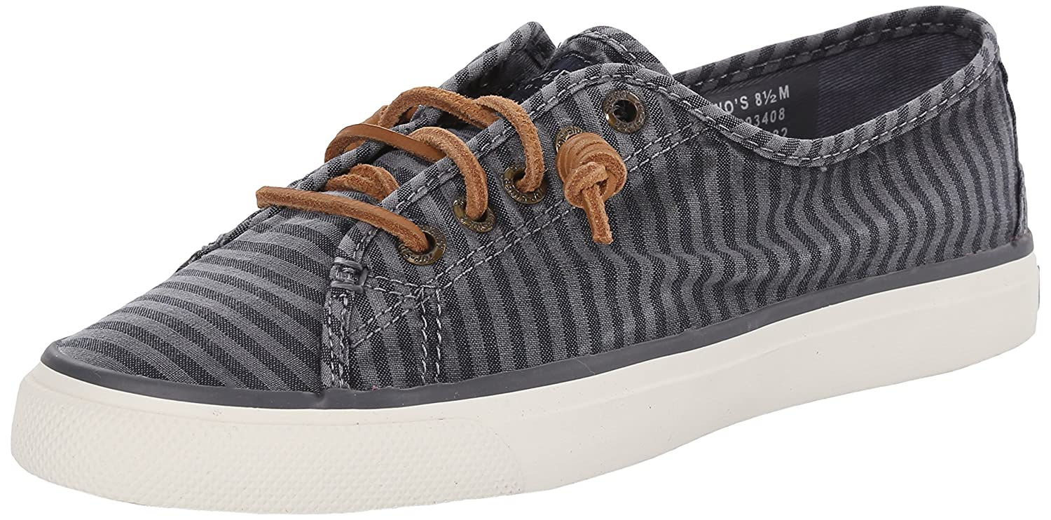 Sperry Top-Sider Women's Seacoast Striped Oxford Fashion Sneaker B00QUHA7HS 7 B(M) US|Charcoal