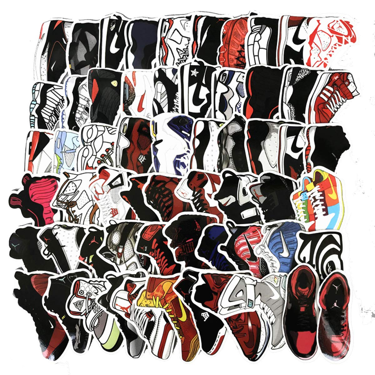 Amazon com meet holiday jordan aj sneakers theme stickers waterproof vinyl scrapbook stickers car motorcycle bicycle luggage decal 60 pcs laptop stickers