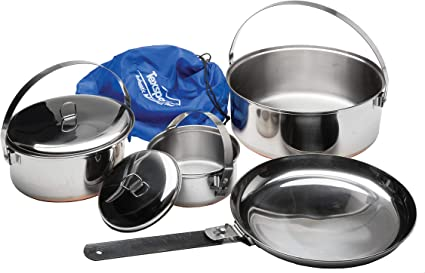 Camping Cookset bajo 22 acero 8 pc