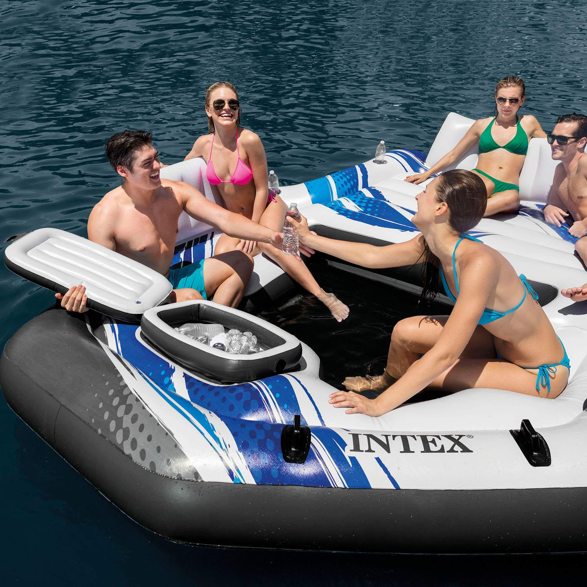 Intex Blue Tropical Island 5 Seat Floating Lounge Raft w/ 4 Cup Holders | 5727EP by Intex (Image #4)