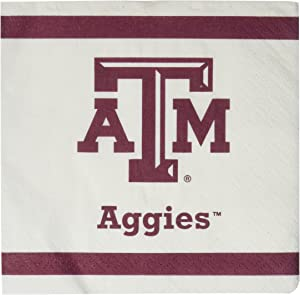 Mayflower Distributing Company 24 Count Texas A and M Beverage Napkin, 5-Inch, Multicolor