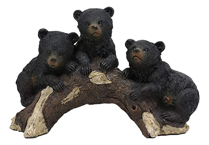 "Ebros Whimsical Rustic Forest 3 Black Bear Cubs Climbing On Arched Log Statue 12.25"" Long Wildlife Woodland Cabin Lodge Decor Bears Figurine for Mantelpiece Shelves Tables Decorative Home Accent"