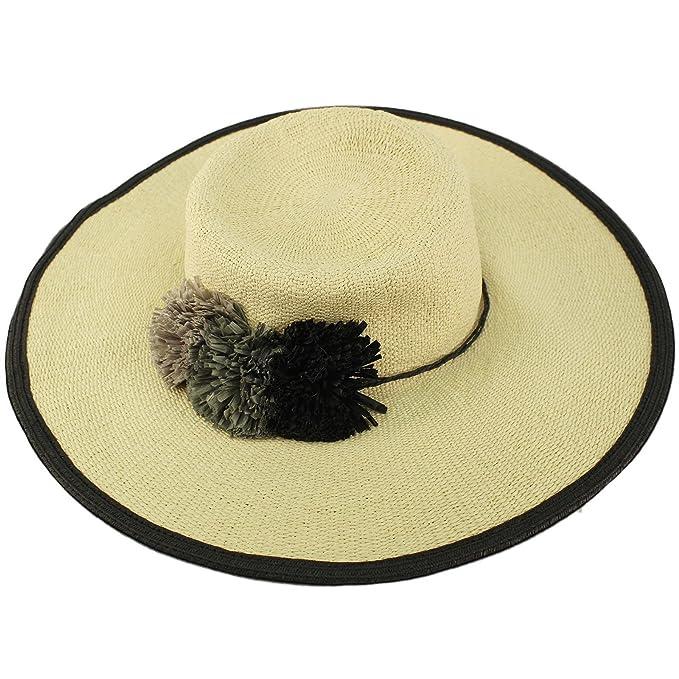 27ba671d03780 C.C 2tone Ruffle Pom Poms Floppy Wide Brim Summer Derby Dressy Sun Hat Black