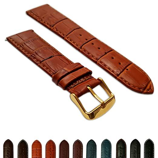 8babaa1f8 Image Unavailable. Image not available for. Color: 24mm Tan Genuine Leather  Mock Croc Watch Strap Band Mens Crocodile Padded Gold Buckle