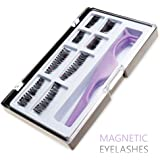 Ultimate Dual Magnetic False Eyelashes Extension Set (8 pieces) - Full Size and Half Size Fake Lashes in One Set with Applicator - Best Reusable and Easy to Apply Ultra Thin Magnets, Natural Look