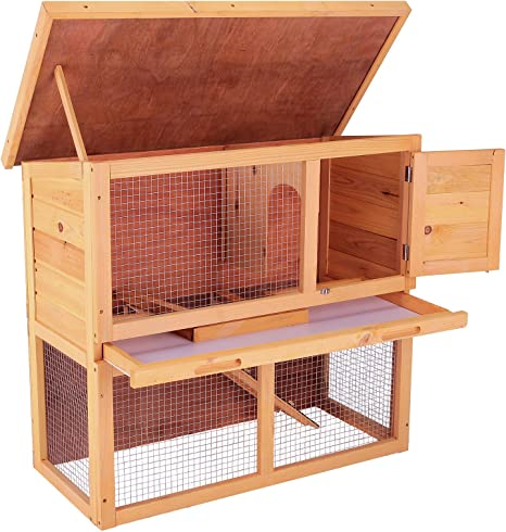 New Deluxe Portable wood Chicken Coop Hen House Duck Poultry Hutch Pet Cage