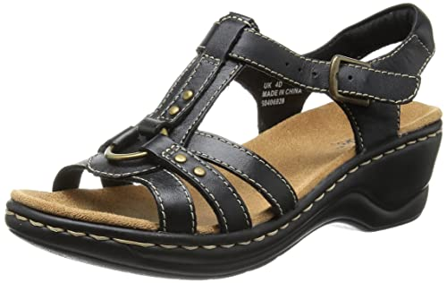 f4faefa03ee9 Clarks Women s Black Leather Fashion Sandals (6 UK)  Buy Online at ...